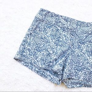 ANN TAYLOR Paisley Chambray Linen Cotton Shorts
